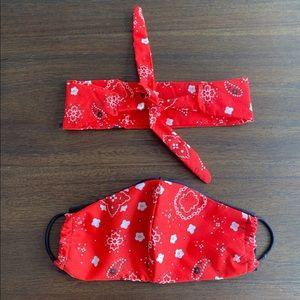 Red Bandana Face Mask + Headband